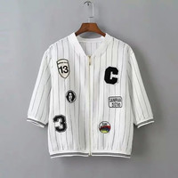Vertical Stripe Sleeve Zippered Baseball Shirt