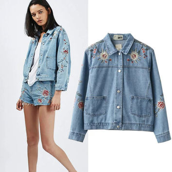 Autumn Floral Embroidery With Pocket Denim Jacket [8805494407]