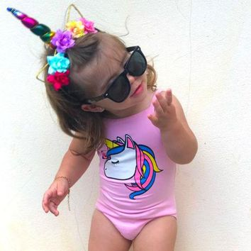 2018 Brand New Toddler Kids Baby Girl Unicorn Swimwear One-piece Swimsuit Bathing Suit Beach Cartoon Baby Clothes 0-3T