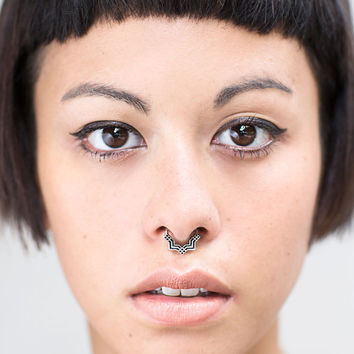 Septum Ring - Sterling Silver Nose Ring - Square Septum Ring - Septum Clicker
