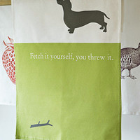 Bottle Green Homes - Silhouette Tea Towel : Dachshund Green