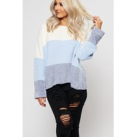 Terry Color Block Sweater (Blue)