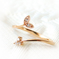 Tiny Leaf Sprout Ring Adjustable Crystal Jewelry Rose Gold Silver Free Size gift idea