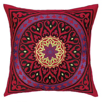 Mora Red Medallion Embroidered Pillow