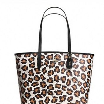 Coach City Tote in Ocelot Print Coated Canvas