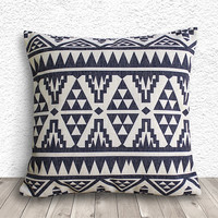 Pillow Cover, Aztec Pillow Cover, Tribal Pillow Cover, Linen Pillow Cover 18x18 - Printed Geometric - 038
