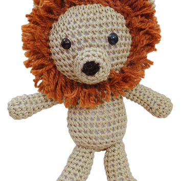 Orange-Brown Lion Handmade Amigurumi Stuffed Toy Knit Crochet Doll VAC