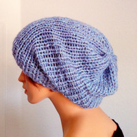 Hand Knitted Wool Unisex Beanie. Knit Slouchy Beanie. Light blue wool Knit Beanie