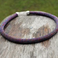 classic subtle rainbow hematite Crochet beaded rope necklace, amazing colored rainbow seed bead necklace, Bead Crochet Rope Bead necklace