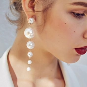 Long Party Pearl Chandelier Earrings For Women