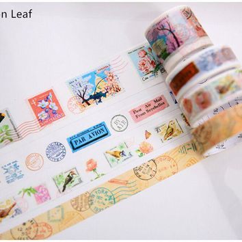 4Pcs/Pack Vintage Travel Postmark Stamps Function Decorative Washi Tape DIY Diary Planner Album Scrapbook Masking Tape