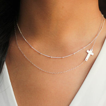 Simple Cross Chains Necklaces