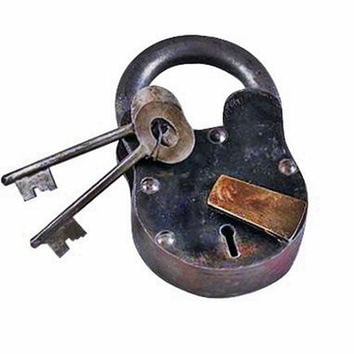 Small Cast Iron Lever Lock Padlock with Keys Pirate Chest, Model: 1103, Tools & Hardware store