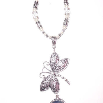 Wedding Bouquet Memorial Photo Charm Silver Dragonfly Clear Crystals Pearls Tibetan Beads - FREE SHIPPING
