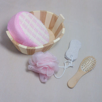 5pcs Soft Exfoliating Back Spa Scrubber Bath Ball + Massage Comb + Shower Sponge + Wood Box + Pumice Stone Set