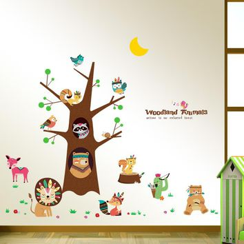 Cartoon Animal Tree Wall Sticker Children Bedroom Wall Stickers For Kids Rooms Baby Baby Room Decoration Mural