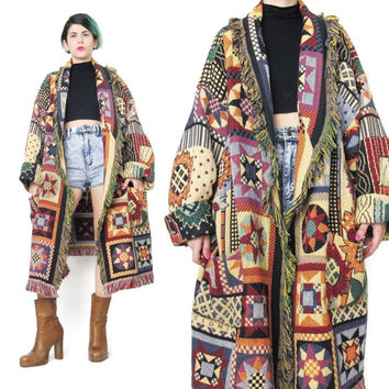 1990s Vintage Tapestry Blanket Coat American Quilt Stars Novelty Print Coat Colorful Winter Coat Plus Size Woven Coat Oversize Jacket (L/XL)