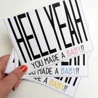 Hell Yeah Baby - Congratulations Baby Greeting Card Textured - Choose Color - Congrats, New Baby, Pink, Blue, Yellow