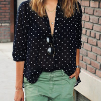 Black Polka Dot With Buttons Blouse -SheIn(Sheinside)