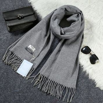 NOVO5 New Luxury Scarf Winter Women Scarf Men Wool Cashmere Solid Scarf High Quality Pashmina Tassels Wraps Scarves 180*70cm WJ8049