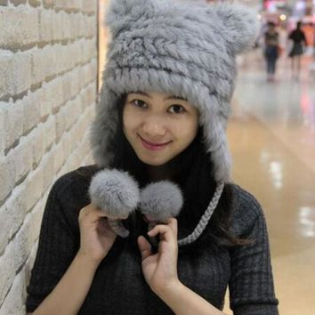 ESBU3C NEW WINTER WOMEN FASHION GENUINE RABBIT FUR CAP WITH BEAR EARS CUTE WARM  FUR KNITTED HAT SOFT FUR HAT WITH TWO EARS LOVELY HAT