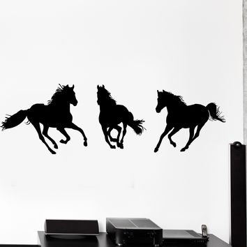 Wall Vinyl Decal Horses Mustang Animals Nature Home Interior Decor Unique Gift z4075