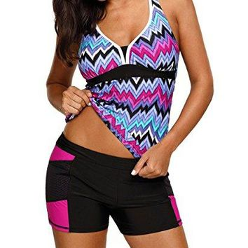 JomeDesign Womens Bathing Suit Stripes Racerback Tankini Top with Boyshorts Swimsuit
