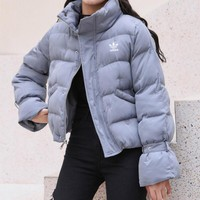 """""""Adidas"""" Women Fashion Simple Solid Color Long Sleeve Upright Neck Cotton-padded Clothes Coat"""