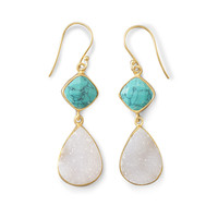 14K Gold Plated Sterling Silver Earrings with Turquoise and White Druzy