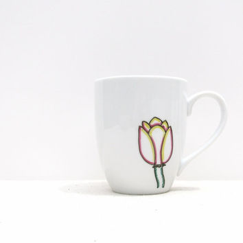Coffee Mug - Tulip Mug -  Pink, Yellow, Green and Black Hand drawn Tulip- Black and White Coffee Cup