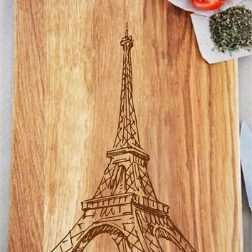 ikb74 Personalized Cutting Board Wood Eiffel Tower Paris France restaurant kitchen