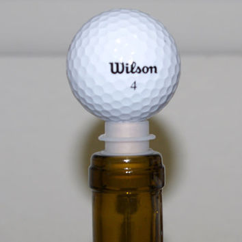 Golf ball wine bottle stopper. Gift for the Golfer!.