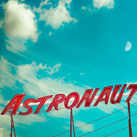 Kids room decor, astronaut, spaceman, outer space, waxing moon, vintage neon sign, red lettering, neon lights, Jersey shore, Atlantic coast