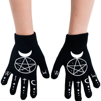 Gypsy Witch Pentagram and moons Witch Black knit gloves