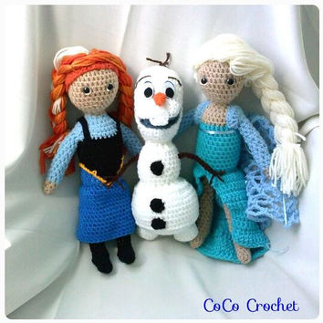 Crocheted Frozen Characters set of Three includes Anna Olaf and Elsa dolls