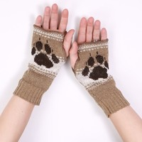 Dog Paw Handwarmers - Available in Tan or Green