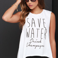 Wyldr Save Water Ivory Muscle Tee