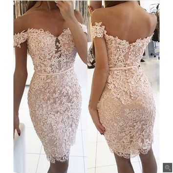 2017 free shipping appliques beaded short prom dress sheath off the shoulder v neck sexy prom gowns petite girls prom dresses