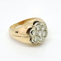 2 Cttw. Vintage Men's 14k Diamond Cluster RIng