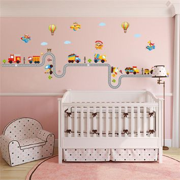 200cm Car Highway Track wall stickers decorative kids baby nursery boy room sticker poster home decor decal mural wallpaper