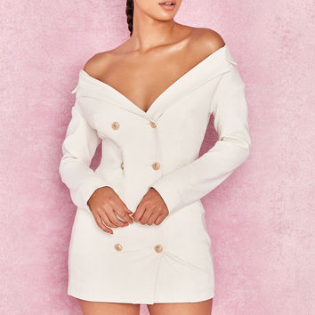 Clothing : Structured Dresses : 'Severine' White Crepe Bardot Tuxedo Mini Dress