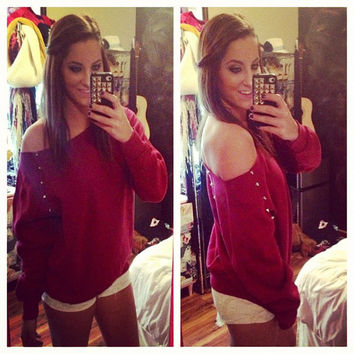 Studded Maroon Off Shoulder Sweatshirt Size Medium Large