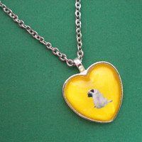 Pug heart pendent necklace, lemon yellow