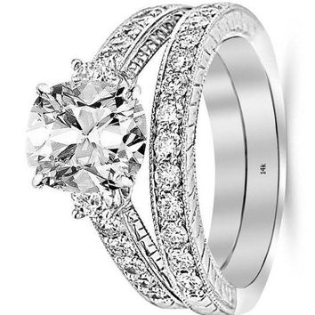 .2.53 Ctw 14K White Gold GIA Certified Cushion Cut Three Stone Vintage with Milgrain & Filigree Bridal Set with Wedding Band & Diamond Engagement Ring, 1.5 Ct D-E VS1-VS2 Center