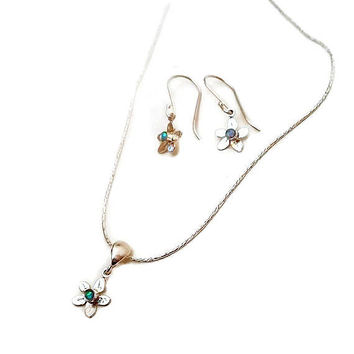 Jewelry set, Silver set jewelry, flower set jewelry, small silver flowers , gift for her, opal jewelry, opal earring, opal pendant, Gift set