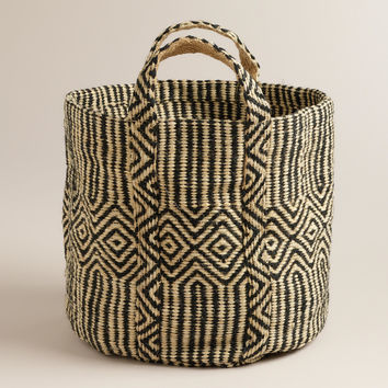 Black and White Jute Storage Basket - World Market