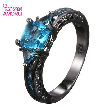 AMORUI Fashion Wedding Hollow Rings for Women Vintage Blue CZ Stone Ring Bague Femme Black Gold Color Engagement Ring Anillos
