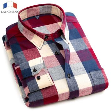 Mens Cotton Plaid Dress Shirt