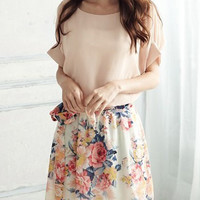 Pink Floral Print Chiffon Dress