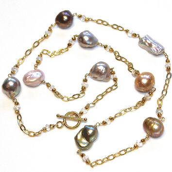 "Pastel Pearl Necklace Station Necklace White Topaz Long Pearl Necklace Valentine's Gift Gold Vermeil Chain Tin Cup 21"" Necklace"